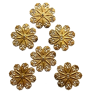 Floral Pinwheel, Brass Filigree, Beading Filigree, Drilled Flower, Raw Patina Brass, Bsue Boutiques, 45mm