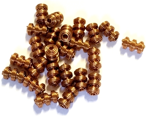 Vintage Springy Metal Beads, 24 Piece, Metal Beads, Antique Copper, Vintage Supplies, 8 x 5mm