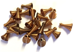 Vintage Springy Metal Cone Beads, 24 Piece, Metal Beads, Cone Beads, Antique Copper, Vintage Supplies, 15 x 10mm