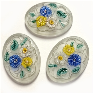 Vintage Painted Glass Stones, 3 Piece, Floral Stones, Vintage German, Vintage Jewelry Supplies, B'sue, 25 x 18mm