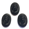 Vintage Victorian Lady Cameos, 3 Piece, German Glass Cameos, Matte Black, Vintage Jewelry Supplies, B'sue, 18 x 13mm