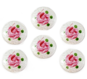 Rare White Dresden Enamel, 6 Piece, Round, Hand Painted Pink Flowers Over White, Vintage Dresdens, Vintage Jewelry Supplies, 18mm