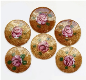 Rare Brown Dresden Enamel, 6 Piece, Round, Hand Painted Pink Flowers Over Brown, Vintage Dresdens, Vintage Jewelry Supplies, 18mm