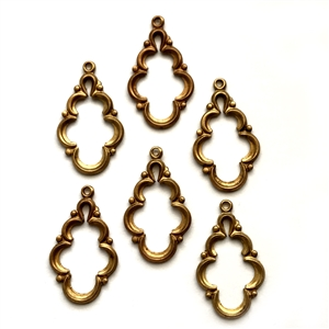 Vintage Ear Drops, Scalloped Design, Backless Pendants, Patina Brass, 26 x 16mm