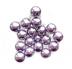 Lavender Glass Pearls, 18 Piece, Vintage Glass Round Beads, Lavender, 10mm