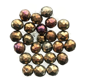 Vintage Glass Beads, 25 Piece, Bronze Iris Beads, Faceted Beads, Beading Supplies, Jewelry Making, 10mm