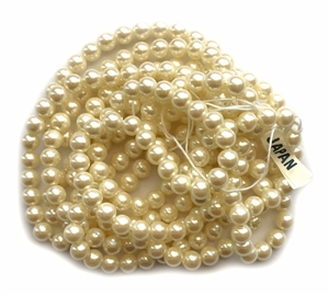 Japanese Glass Pearls, 260 Piece, Vintage Glass Round Beads, Rich Vintage Cream, 6mm