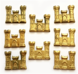 Vintage Castles, 8 Piece, Mini Castles, Vintage Patina Brass, Vintage Supplies, Jewelry Making, B'sue, 20 x 23mm