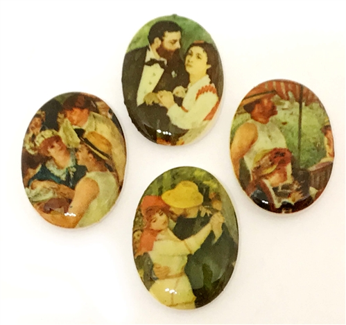 vintage porcelain cameo, German decal cameos, porcelain cameo, 25x18mm, decal, German decal, couple scenes cameos, flat back, B'sue Boutiques, vintage supplies, jewelry supplies, jewelry findings, vintage cameo, jewelry making, french scenes decal, 04102