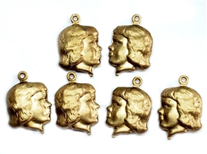 Vintage Boy Head Charm, 6 Piece, Boy Head, Puffy Charm, Vintage Patina Brass, Jewelry Making, Vintage Supplies, 20x14mm