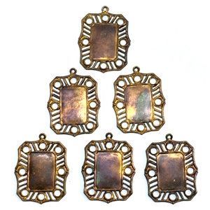 Vintage Filigree Pendant Mount, 6 Piece, Vintage Supplies, Cameo Mounts, Vintage Patina Brass, Gingerbread, Bsue, Jewelry Making, 15x10mm Mount