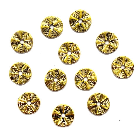 metal beads, washer beads, disc beads, beading supplies,  jewelry making, jewelry supplies, antique gold washers, B'sue Boutiques, 04649, 13mm, round discs, steam punk, textured discs