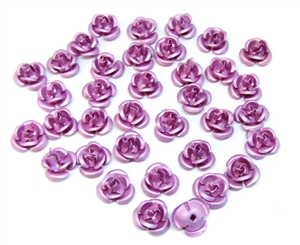 tea rose flowers, pink, aluminum, tea rose, flowers, metal flowers, triple layer, tinted mauve, drilled, riveted, 10mm, 36 pieces, pink metal roses, metal tea rose, aluminum flowers, vintage, jewelry making, vintage supplies, B'sue Boutiques, 04961