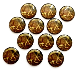 Vintage Hollywood Cabochons, Epoxy Resin, 05043, flat back cabs, resin cabochons, jewelry making supplies, vintage supplies