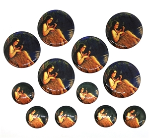 vintage Hawaii lady cabochons, epoxy resin, flat back cabs, resin cabochons, cabochon, resin, Hawaii lady, ukulele, vintage epoxy resin, 18-30mm, jewelry making, jewelry supplies, vintage supplies, jewelry findings, B'sue Boutiques, 05153