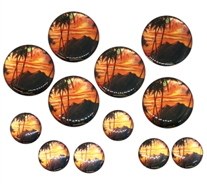 vintage tropical paradise cabochons, epoxy resin, flat back cabs, resin cabochons, cabochon, resin, tropical paradise, vintage epoxy resin, 18-30mm, jewelry making, jewelry supplies, vintage supplies, jewelry findings, B'sue Boutiques, 05154