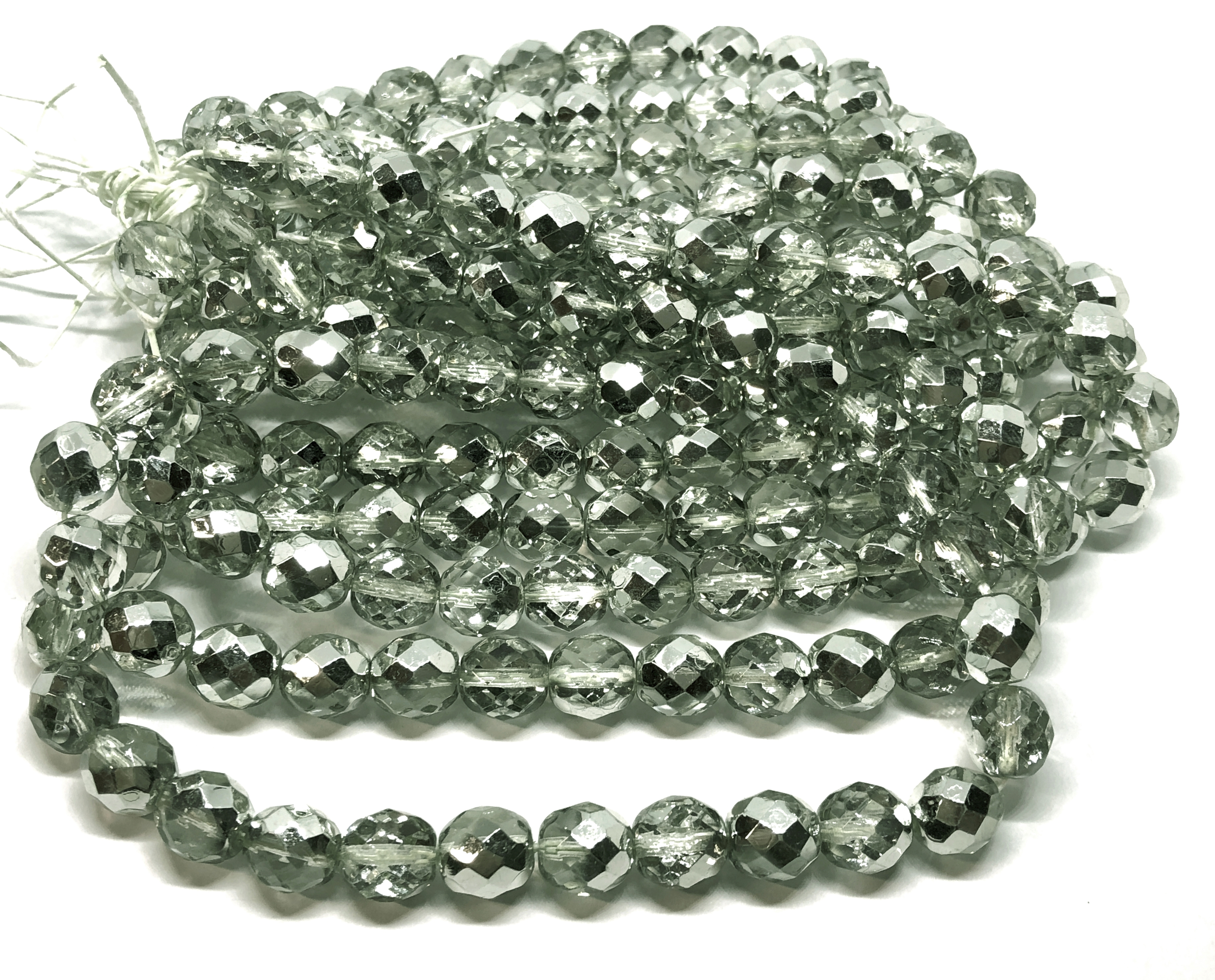 Czech glass beads, fire polished, erinite,05350, erinite silver, glass beads, beading supplies, jewelry making supplies, bsue boutiques, temp strung beads, vintage jewelry supplies, vintage beads, metallic beads, metallic silver blend