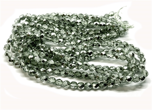 Czech glass beads, fire polished, erinite, 05352, erinite silver, glass beads, beading supplies, jewelry making supplies, bsue boutiques, temp strung beads, vintage jewelry supplies, vintage beads, metallic beads, metallic silver blend