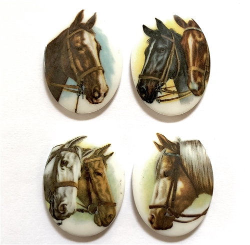 vintage porcelain horse cameos, German decal cameos, porcelain cameo, 40x30mm, decal, German decal, horse cameos, flat back, B'sue Boutiques, vintage supplies, jewelry supplies, jewelry findings, vintage cameo, jewelry making, horse decal, 05372