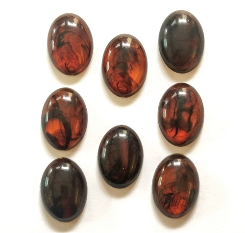 vintage warm amber lucite stone, oval cabs, stones, amber, flat back, cabochon, vintage supplies, lucite, cabs, 8 piece, jewelry making, jewelry supplies, B'sue Boutiques, flat back stones, amber black swirl stones, vintage stones, 25x18mm, 05381