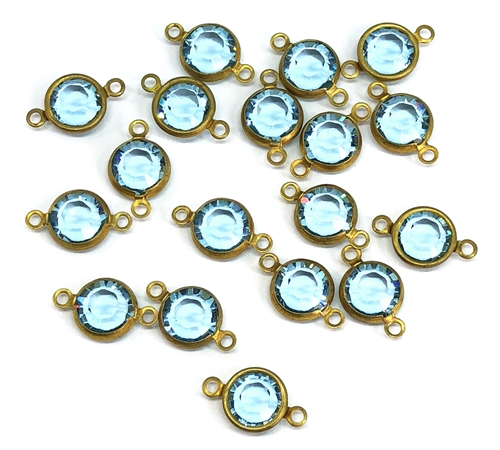 assorted Swarovski connectors & drops, black diamond, drops, connectors, bezel wrapped stones, glass, glass stones, brass, vintage style jewelry, US made, nickel free, Chanels, 15-18mm, jewelry making, vintage supplies, B'sue Boutiques, 05387