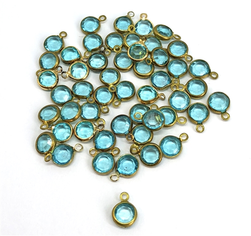 epoxy resin aqua drops, crystal, drops, bezel wrapped stones, transparent, aqua, aquamarine, brass, vintage style jewelry, resin, epoxy resin drops, Chanels, 7mm, jewelry making, vintage supplies, B'sue Boutiques, jewelry supplies, 05464