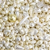 vintage assorted pearl beads, imitation pearls, pearls, modacrylic, 60's era, round, oval, chunky beads, teardrop, white pearls, creme pearls, vintage, assorted sizes, B'sue Boutiques,05479, beading supplies, jewelry making supplies