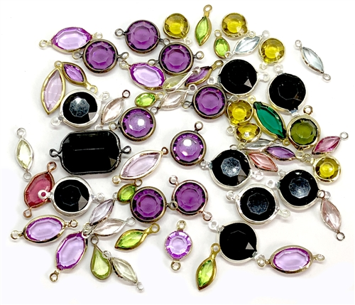 vintage charms, mixed colors, epoxy resin drops, wire wrapped chanels, assorted connectors, vintage jewelry supplies, jewelry making supplies, gold tone wire wrap, mixed connectors, faceted stones, pendants, 10-20mm, jewelry channels, 05481