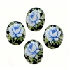 Vintage Desert Rose Cameos, German Decal, 05521, vintage jewelry supplies, jewelry making supplies, floral cameos, blue roses, Black base, flat back cameos, decal cameos, rose decals