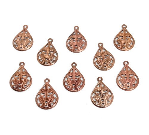 vintage filigree ear drops, filigree, gingerbread patina, patina, gingerbread, charm, pendant, drop, ear drop, filigree drops, filigree pendants, brass, vintage style, jewelry making, vintage supplies, B'sue Boutiques, jewelry findings, 16x11mm, 05555