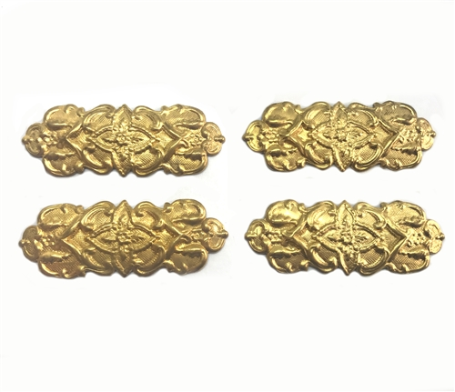 brass floral bar, jewelry making, unplated brass, 05614, 54mm, B'sue Boutiques, US made jewelry supplies, nickel free, jewelry supplies, vintage jewellery supplies, bracelet bars, raw brass, Victorian jewelry supplies