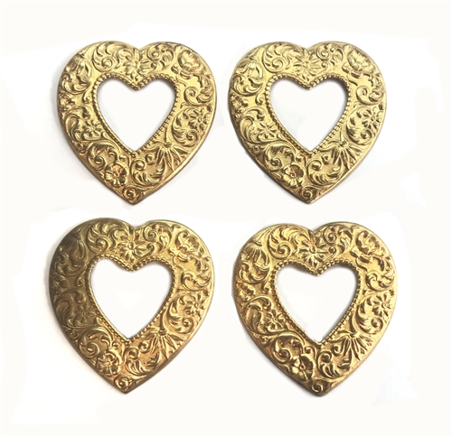 Brass Heart Stamping, Raw Brass, 05624, ornate heart stamping, ornate, heart, hearts, jewelry supplies, jewelry making, vintage jewelry supplies, B'sue Boutiques, floral heart, floral, open back heart, heart stamping