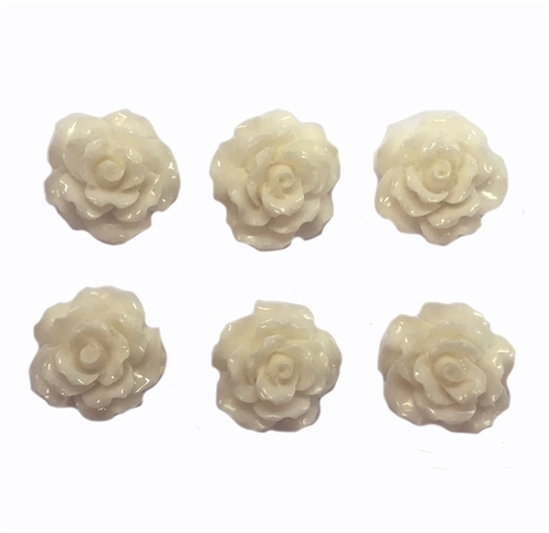resin flowers, jewelry making, ivory, 05627, jewelry supplies, B'sue Boutiques, drilled flower, resin, flower, flowers, bead, drilled bead, flower bead, rose, roses, ivory rose