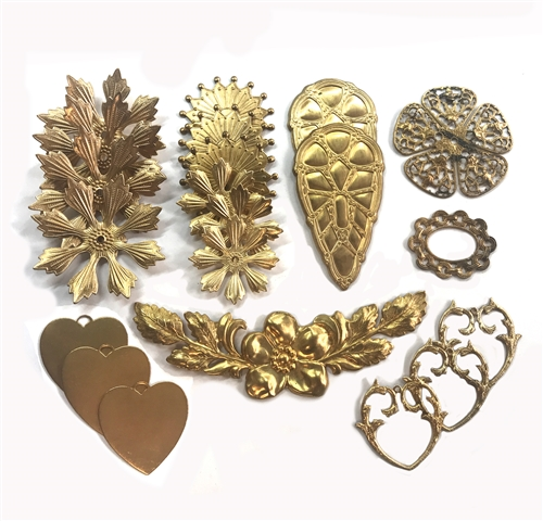 Vintage Assorted Stampings, Raw Patina Brass, 05629, Assortment, stampings, vintage stampings, filigree, unplated brass, jewelry making, jewelry supplies, B'sue Boutiques, flowers, hearts, raw brass