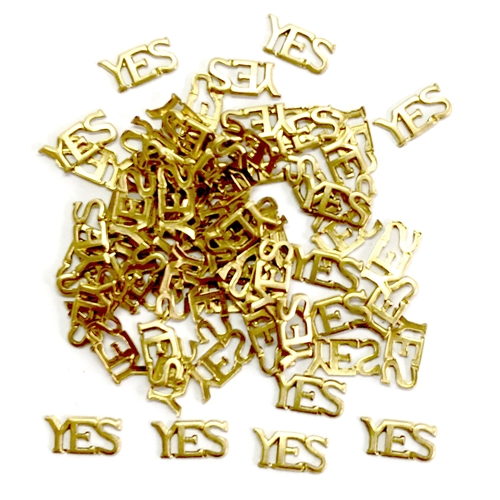brass charms, YES charms, word charms,05712, vintage jewelry supplies, jewelry making supplies, antique brass, raw brass, Bsue Boutiques, US Made, nickel free, jewelry findings