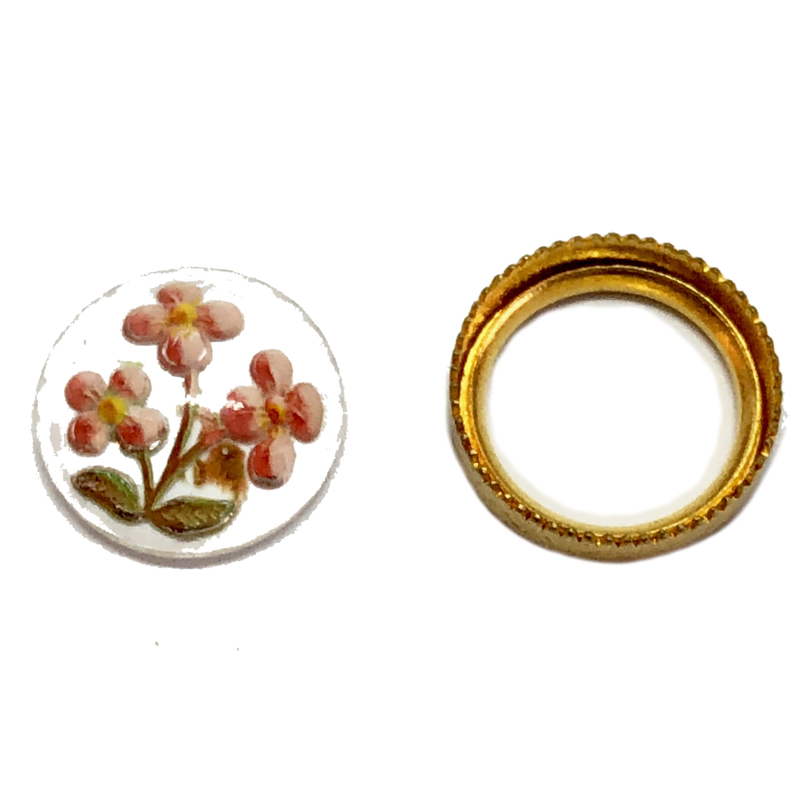 floral cab and bezel set, peach, 11mm, 06112, B'sue Boutiques, reverse paint cabochons, flower jewelry, vintage jewellery supplies, jewelry making supplies, peach flowers, Czech glass, Czech glass cameos, reverse paint cameos,