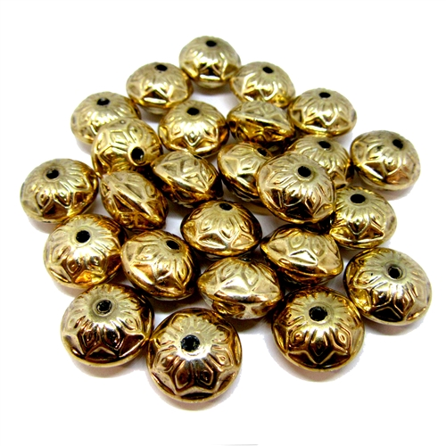 vintage metallized beads, 06156, vintage beads, plastic beads, orb beads, beading supplies, vintage jewelry supplies, jewelry making supplies, puffy beads, B'Sue Boutiques, beads, antique gold