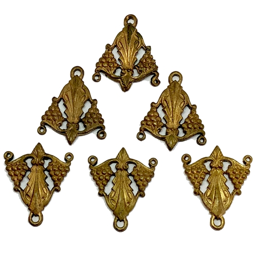 brass charms, grape cluster pendants, 06174, vintage jewelry supplies, jewelry making supplies, patina brass, bsueboutiques, earring drops, pendant drops, charms drops,