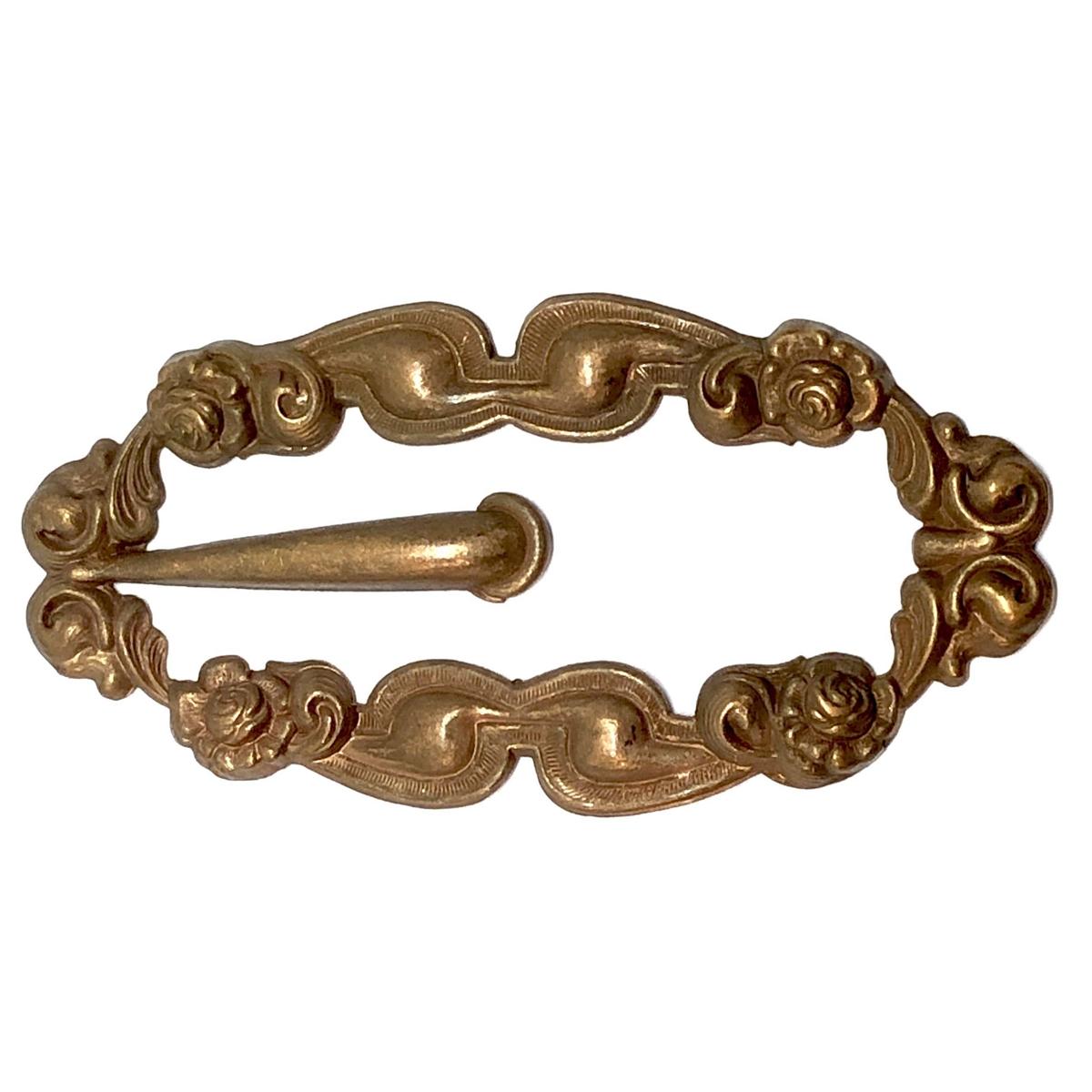 Vintage brass buckle, brass floral frame, 06284, nickel free, brass ...