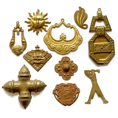 assorted brass, brass stampings, gingerbread, 06719, brass sun, brass golfer, couple swinging, brass findings, buckle style pendant, vintage jewelry supplies, jewelry making supplies, bsueboutiques, nickel free, US made,