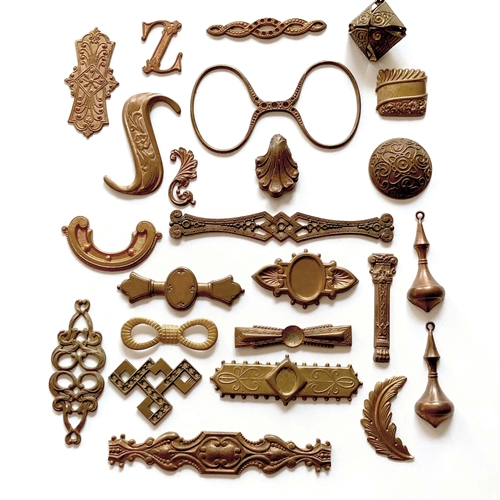assorted brass, brass stampings, gingerbread, 06737, brass spectacles, bracelet bars, brass charms, brass pendants, vintage jewelry supplies, jewelry making supplies, bsueboutiques, assorted brass filigree, nickel free jewelry supplies, letter Z