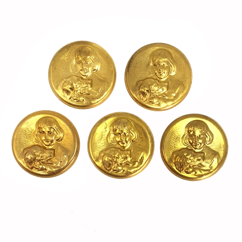 brass medallion stamping, raw brass, boy with dog, jewelry making, B'sue Boutiques, US Made, nickel free, brass stampings ,brass medallions, 06818, dog, boy, 34mm, medallion, circular