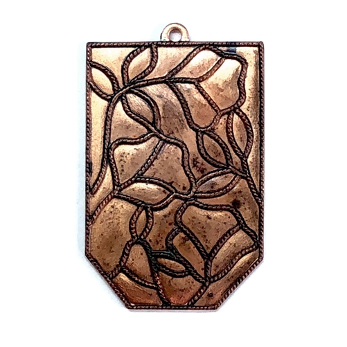 brass stamping, floral, unplated brass, 06903, stained glass, patina brass, raw brass, pendant, brass pendant, floral pendant, hanging hole, Bsue Boutiques, jewelry making, jewelry supplies