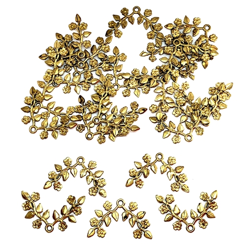 brass leaves, brass flowers, jewelry making, 06937, raw brass, antique brass, jewelry supplies, brass jewelry parts, vintage supplies, vintage jewelry, US made, nickel free, B'sue Boutiques, center drilled, beading leaves