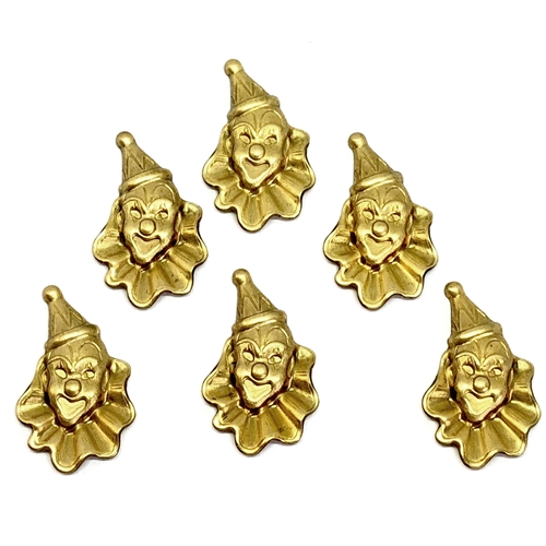 brass clowns, clown stampings, raw brass, 07171, brass jewelry parts, jewelry making supplies, vintage jewelry supplies, circus jewelry, carnival jewelry, US made, nickel free jewelry supplies, bsueboutiques