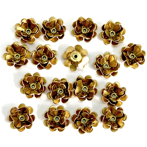 mini triple tea rose, raw brass, tea rose, mini, rivet flower, rivet, flower, triple layer design, triple layer, 12mm, brass, nickel free, us made, B'sue Boutiques, jewelry making, jewelry supplies, vintage supplies, rose, 07184