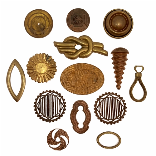 Vintage Assorted Stampings, Patina Brass, 07190, brass stampings, 14 pieces, raw brass stampings, unplated brass, jewelry supplies, jewelry making, Bsue Boutiques, assortment, vintage stampings