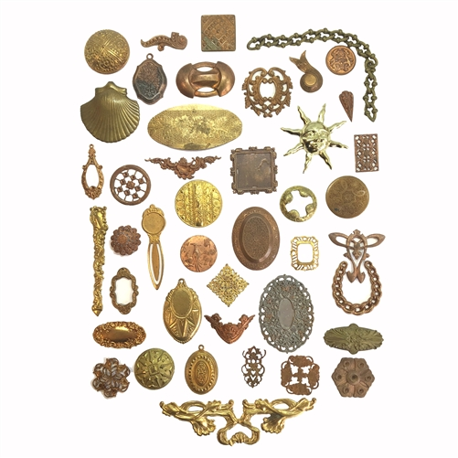 Vintage Assorted Stampings, Imagination assortment, Patina Brass, 07222, brass stampings, 40 pieces, raw brass stampings, unplated brass, jewelry supplies, jewelry making, Bsue Boutiques, assortment, vintage stampings