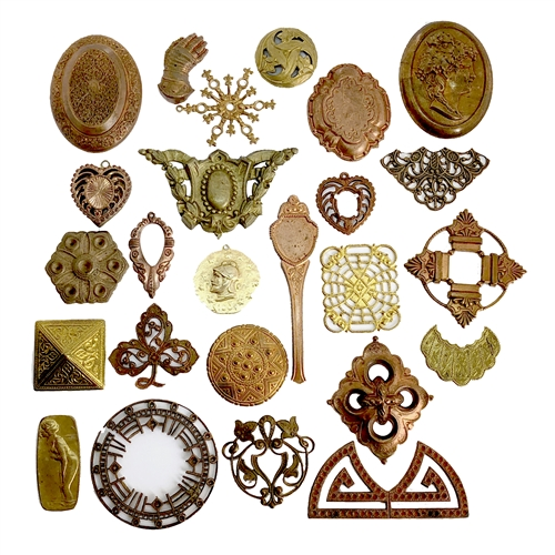 Vintage Assorted Stampings, Imagination assortment, patina brass, 07231, brass stampings, raw brass stampings, unplated brass, jewelry supplies, jewelry making, Bsue Boutiques, vintage stampings, gingerbread brass, vintage filigree