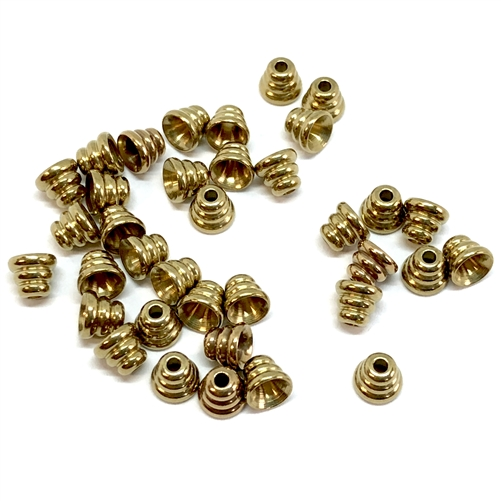 industrial beads, bead caps, raw brass, 4mm, jewelry making supplies, beading supplies, brass jewelry parts, vintage jewelry supplies, bsueboutiques, US Made, nickel free, brass findings, cast brass bead caps, 07454